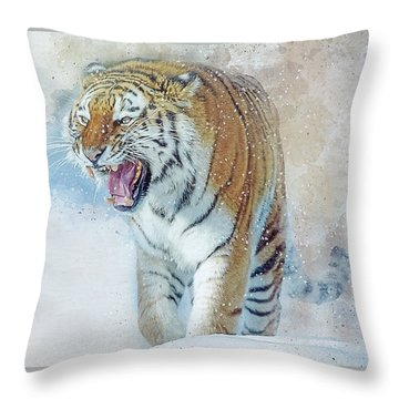 Siberian Tiger In Snow Throw Pillow