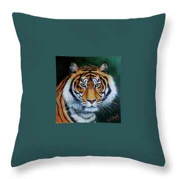 Siberian Tiger Throw Pillow by Janet Silkoff