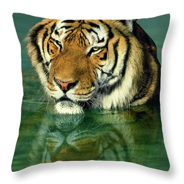 Siberian Tiger Reflection Wildlife Rescue Throw Pillow by Dave Welling