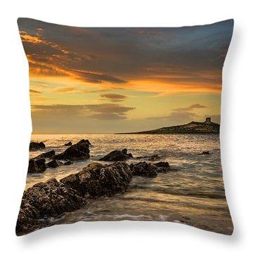Sicilian Sunset Isola Delle Femmine Throw Pillow by Ian Good