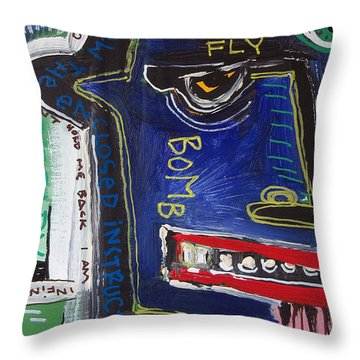 Throw Pillow featuring the painting Sicko by Rick Baldwin