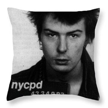 Sid Vicious Mug Shot Vertical Throw Pillow