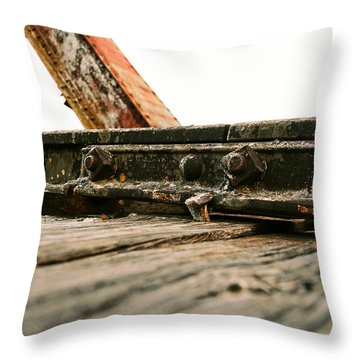 Side Of Rail #photography #trains Throw Pillow
