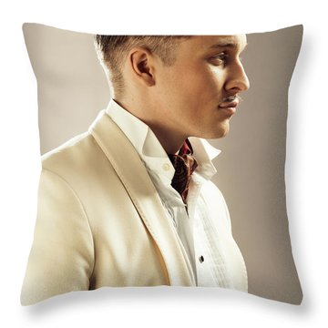 Side Profile Of Character Playing Errol Flynn Throw Pillow