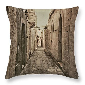 Throw Pillow featuring the photograph Side Street Malta by Charles McKelroy