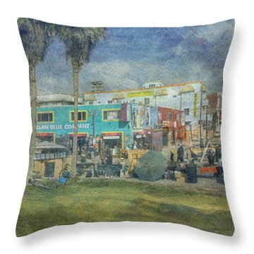 Throw Pillow featuring the photograph Sidewalk Cafe Venice Ca Panorama  by David Zanzinger