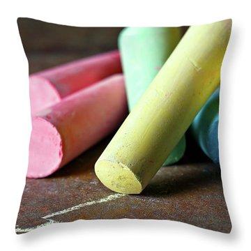 Sidewalk Chalk I Throw Pillow by Tom Mc Nemar