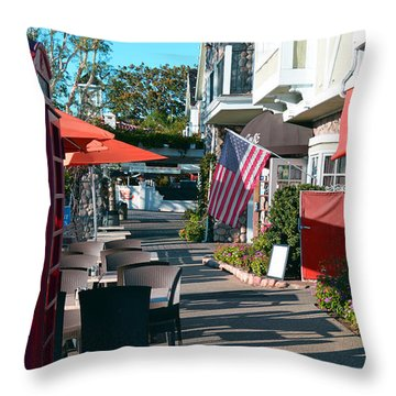 Throw Pillow featuring the photograph Sidewalk Patio by Bill Dutting