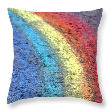 Sidewalk Rainbow  Throw Pillow by Olivier Le Queinec