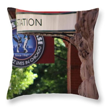 Sidewalk View Jazz Station  Throw Pillow