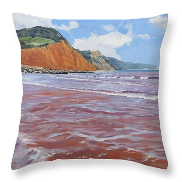 Throw Pillow featuring the painting Sidmouth by Lawrence Dyer