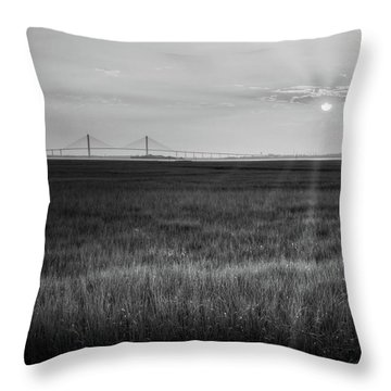 Sidney Lanier At Sunset In Black And White Throw Pillow by Greg Mimbs
