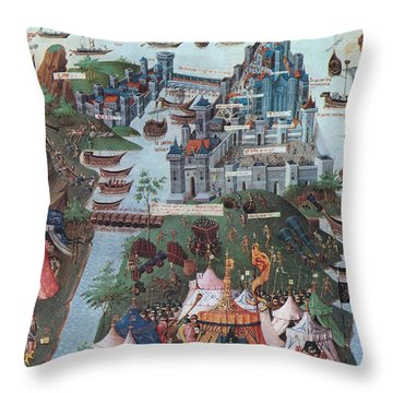 Siege Of Constantinople, 1453 Throw Pillow by Photo Researchers