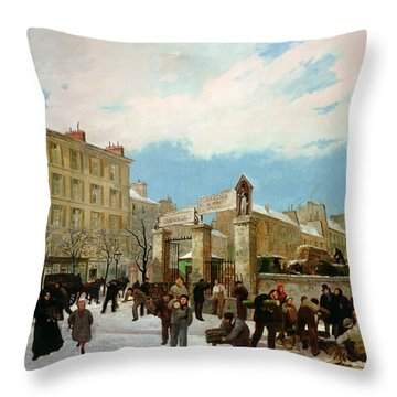 Siege Of Paris Throw Pillow by Jacques Guiaud