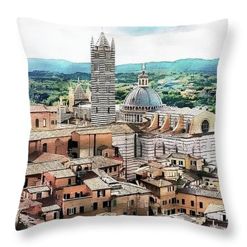 Throw Pillow featuring the digital art Siena Duomo From The Torre Del Mangia by Joseph Hendrix
