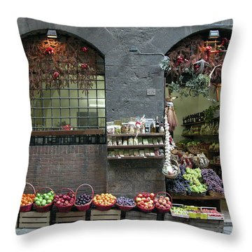 Throw Pillow featuring the photograph Siena Italy Fruit Shop by Mark Czerniec