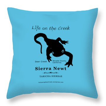 Sierra Newt - Black Throw Pillow