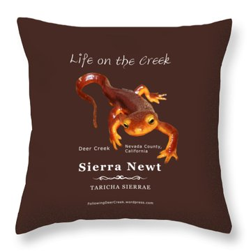 Sierra Newt - Color Newt - White Text Throw Pillow