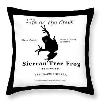 Sierran Tree Frog - Black Graphics Throw Pillow
