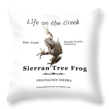 Sierran Tree Frog - Photo Frog, Black Text Throw Pillow