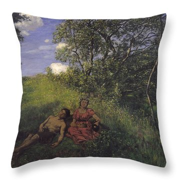 Siesta Throw Pillow by Hans Thoma