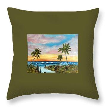Siesta Key At Sunset Throw Pillow