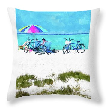 Siesta Key Beach Bikes Throw Pillow