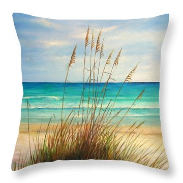 Siesta Key Beach Dunes  Throw Pillow by Gabriela Valencia