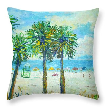 Siesta Key Beach Throw Pillow by Lou Ann Bagnall