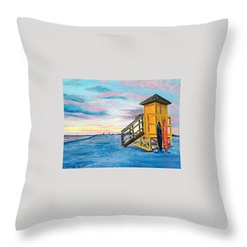 Siesta Key Life Guard Shack At Sunset Throw Pillow