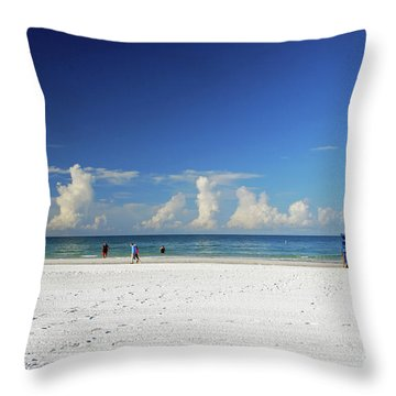 Throw Pillow featuring the photograph Siesta Key Life Guard Shack by Gary Wonning