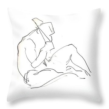 Siesta - Male Nude Throw Pillow