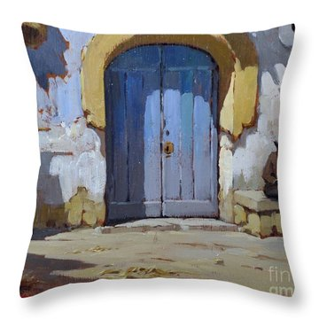 Throw Pillow featuring the painting Siesta Time In Naples by Rosario Piazza
