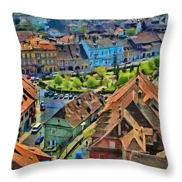 Sighisoara From Above Throw Pillow by Jeff Kolker