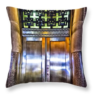 Throw Pillow featuring the photograph Sights In New York City - Bright Door by Walt Foegelle