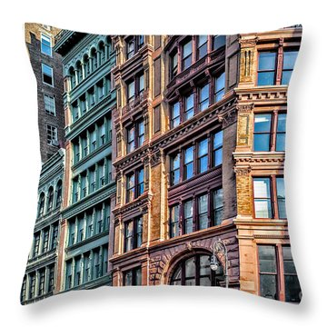 Throw Pillow featuring the photograph Sights In New York City - Colorful Buildings by Walt Foegelle