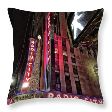 Throw Pillow featuring the photograph Sights In New York City - Radio City by Walt Foegelle