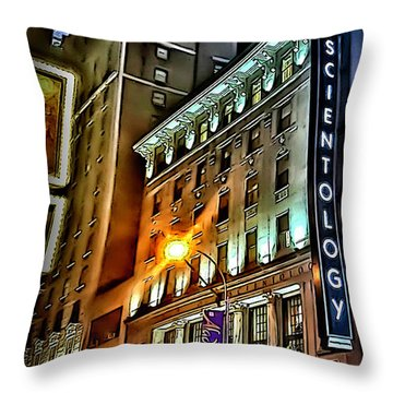 Throw Pillow featuring the photograph Sights In New York City - Scientology by Walt Foegelle