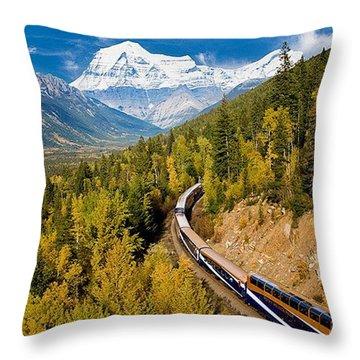 Sightseeing Thru Canadian Rockies Throw Pillow