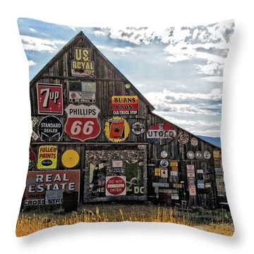 Signage Barn Throw Pillow