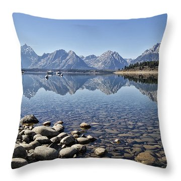 Jackson Lake  Near Signal Mountain Lodge Throw Pillow