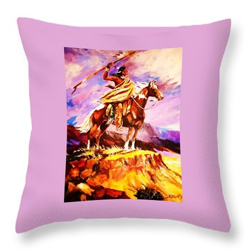 Signalling Sighting Of The Buffalo Herd Throw Pillow by Al Brown