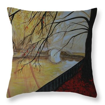 Throw Pillow featuring the painting Silence by Leslie Allen