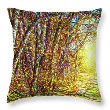 Silence Of A Forest Path Throw Pillow