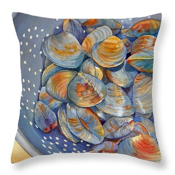 Throw Pillow featuring the painting Silence Of The Clams by Judy Mercer