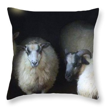 Silence Of The Sheep Throw Pillow by Ann Tracy