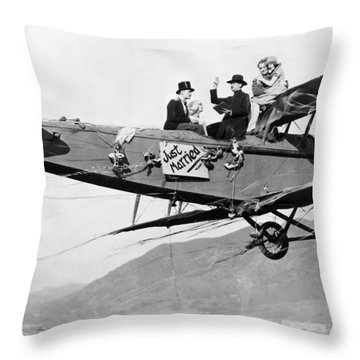 Silent Film Still: Stunts Throw Pillow by Granger