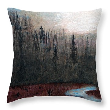 Silent Forest Mist Throw Pillow by R Kyllo