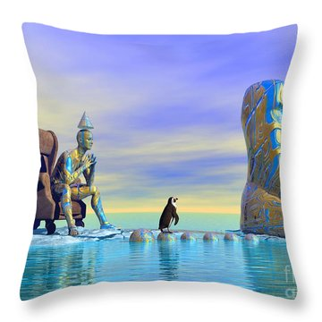Throw Pillow featuring the digital art Silent Mind - Surrealism by Sipo Liimatainen
