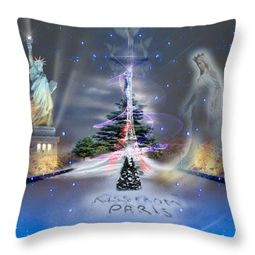 Silent Night  A Kiss From Paris And Back Throw Pillow